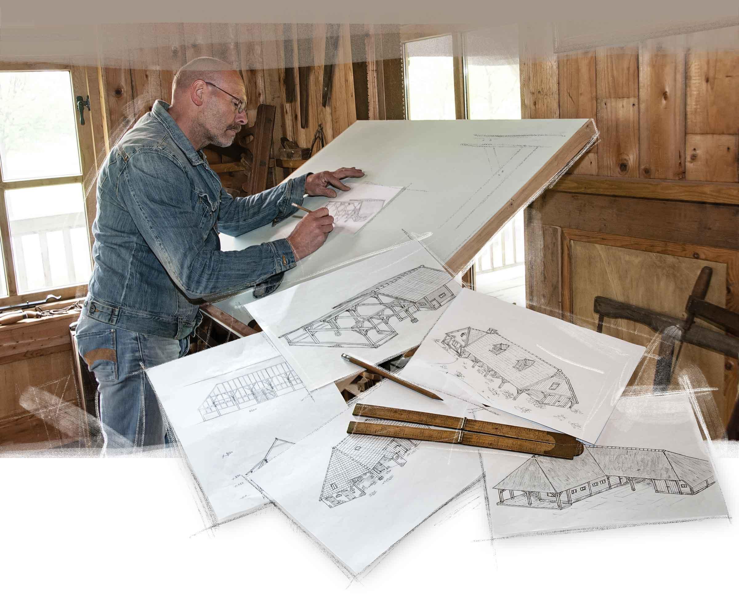Henk Bennink Exclusieve Houtbouw ontwerpt traditionele houten schuren, paardenstallen, woningen etc.